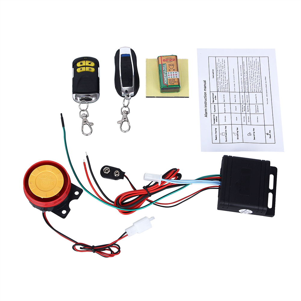 1set Motorcycle Remote  Anti-theft Security Key Alarm Remote Start System Flameout Type System 125dB Alarm Speaker