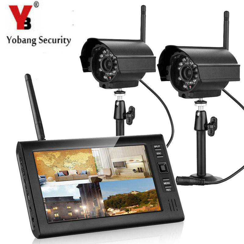 YobangSecurity 7 Inch Digital 2.4G Wireless Camera Audio Video Baby Monitors 4ch DVR Security System with 2x IR Camera