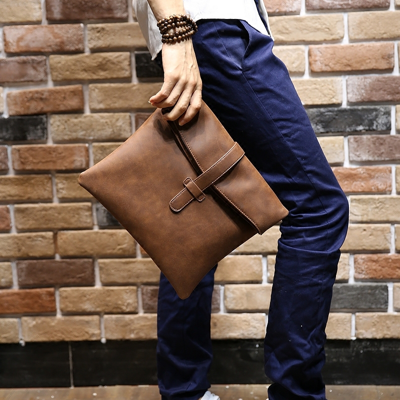 Vintage Large Clutch Bag Crossbody Shoulder Bag Fashion Handbag New Leather Men Messenger Bags Coffee Envelope Bag Free shipping new punk fashion metal tassel pu leather folding envelope bag clutch bag ladies shoulder bag purse crossbody messenger bag