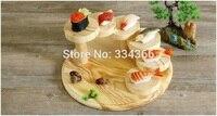 Koreanische Hölzerne stil 6 Runde Schritt Holzständer Sushi Container Japanischen Sashimi Service