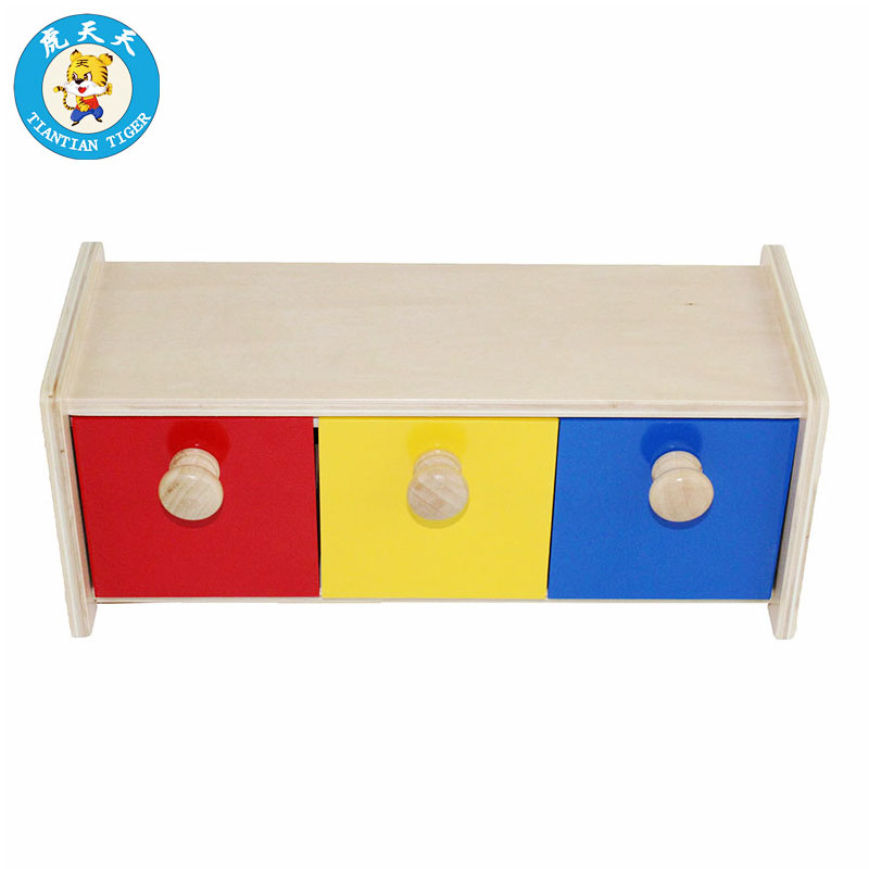 Montessori Baby Kids Preschool Educational Wooden Toys Box With Bins Infant Toddler And Object Permanence Box W/ Drawer