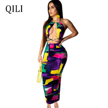 QILI Sexy Halter Backless Beach Dress Colorful Print Hollow Out Bandage Long Dresses New Bohemian Women Vacation