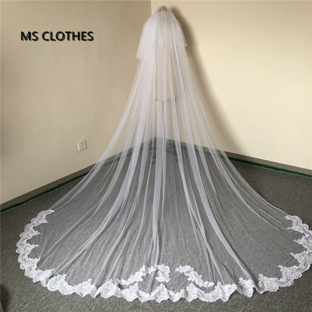 Wholesale Simple 3 Meter White Ivory Tulle Wedding Veils Appliques Lace Edge Bridal Veils With Comb