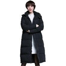2016 New High Quality Winter Jacket Women Fashion Black Slim Thick Full X-Long Women Down Coat White Duck Down Plus Size S-XXL