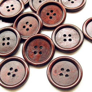 suoja 5/20pcs/pack 30mm Big Brown Wood Wooden Button 4 Holes Craft Clothe Sewing