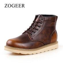 ZOGEER Производитель новый ботинки мужские, Высокое качество Кожа зимняя обувь, 2017 теплый дизайнер зимние ботинки мужские