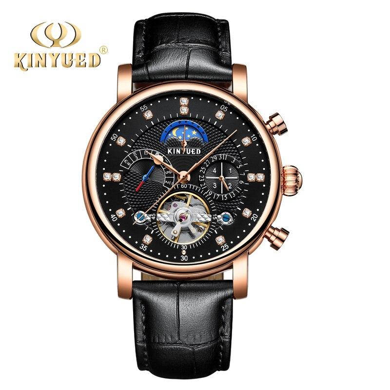 KINYUED Automatic Self Wind Watch Men Black Gold Perpetual Calendar Mechanical Wristwatches Tourbillon Moon Phase Relojes