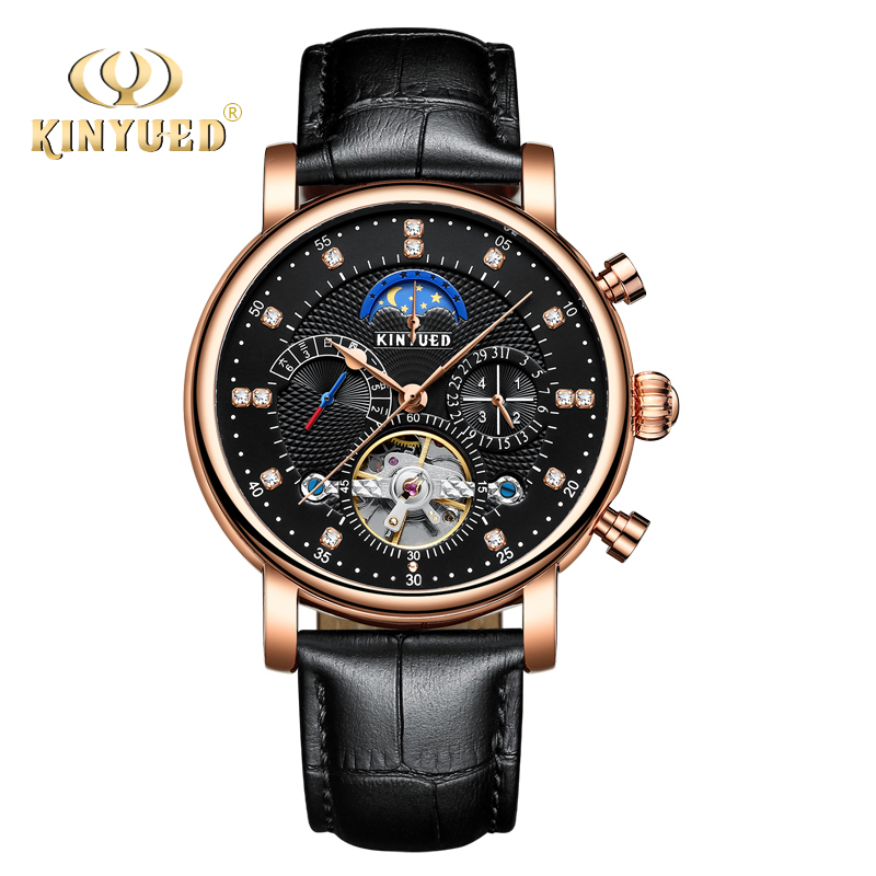 KINYUED Automatic Self-Wind Watch Men Black Gold Perpetual Calendar Mechanical Wristwatches Tourbillon Moon Phase Relojes Hombre