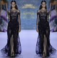 Noble Estilo Formal Vestidos de Noite Bateau Zuhair Murad 3/4 Mangas Compridas Dividir Applique Lace Vestidos de Baile do Assoalho-Comprimento