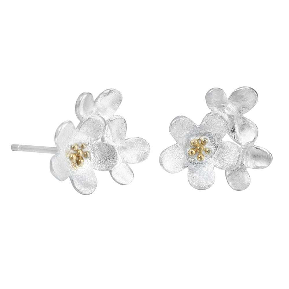 QIAMNI 925 Sterling Silver Lotus ดอกไม้ต่างหูโพสต์สตั๊ดสำหรับสาวอุปกรณ์เสริมสำหรับเด็กวันเกิดคริสต์มาสของขวัญเครื่องประดับ