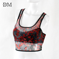 De Monarchia Women Summer Floral Crop Tank Top Sexy Low U Neck Soft Fabric With Padded
