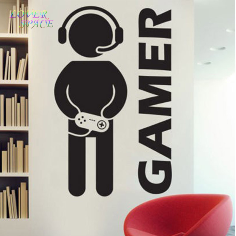 Elegant New Video Game Gaming Gamer Joystick Wall Decal Art Home Decor Wall  Stickers For Kids Rooms VInyl Decoration Wall Mural Paper