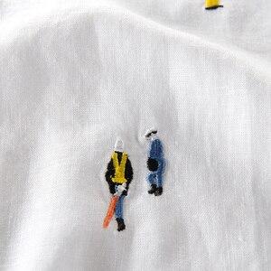 Image 4 - Camiseta para hombre de manga corta de lino con costura bordada de dibujos animados, camiseta informal de la marca con cuello redondo de algodón blanco elástico para hombre