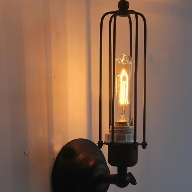Vintage Iron Cage Wall Lamp Retro Loft Hallway Stairs Lampe Light ...