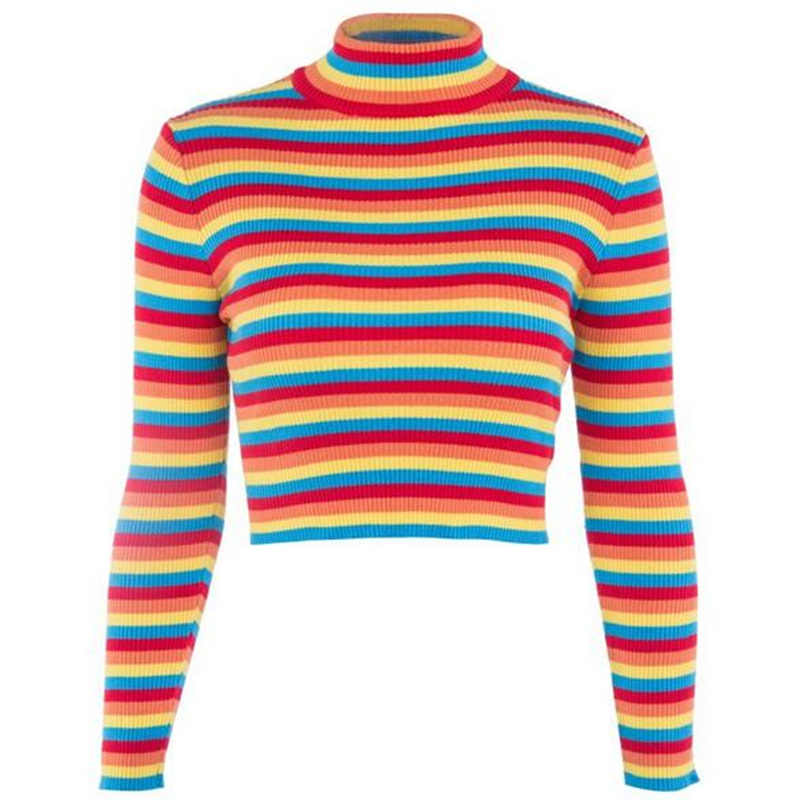 fefdd2a6ddd ... Rainbow Striped Sweater Women Turtleneck Knitted Crop Tops Autumn  Jumper Pullovers Colorful Ribbed Sweaters Female SJ208M