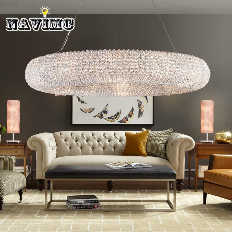Luxury Crystal Pendant Light for Hotel Foyer Vanity Pendant Lamp Round Coffee House Lighting Fixture for Kitchen Island Decor
