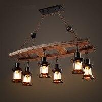 Лофт деревянная люстра Nordic простой Гостиная Ресторан 6 лампа Американский промышленный ветер Костюмы магазин кафе бар