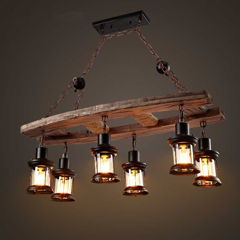 Loft Wooden Chandelier Nordic Simple Living Room Restaurant 6 lamp American Industrial Wind Clothing Store Cafe Bar the cafe shop vintage clothing store small chandelier bar loft iron chandelier geometry character