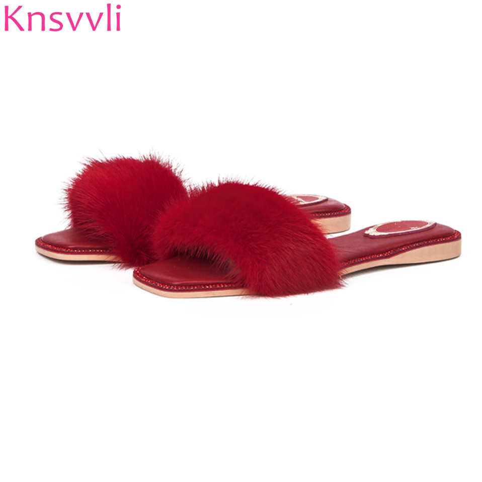Knsvvli fashion rhinestone peep toe genuine leather mules shoes women summer luxury mink hair flat with slippers women