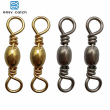 Easy Catch 25pcs Barrel Fishing Swivel With Solid Ring Black Gold Brass Fishing Hook Line Connector Fishing Accessories