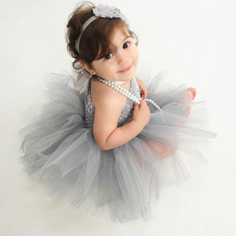 Cute Baby Dress Girls Crochet 1Layer Tutu Dress Infant 100% Handmade Corset Tulle Ballet Tutus Newborn Birthday Party Dress 1Pcs