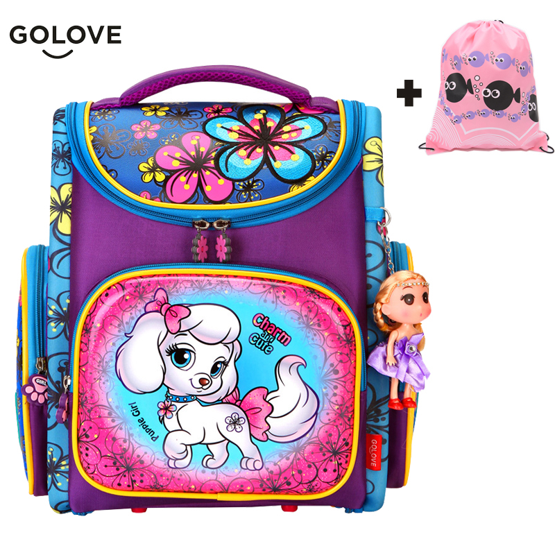 Cute Dog Children School Bags Girls Boys Orthopedic Breathable Backpack with Embroidery flower Child School Bag Mochila EscolarCute Dog Children School Bags Girls Boys Orthopedic Breathable Backpack with Embroidery flower Child School Bag Mochila Escolar
