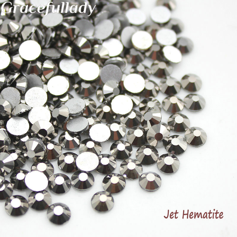 Jet Hematite 3D Nail Art Rhinestones Flatback Non Hotfix For Nails Decor SS4 SS6 SS8 SS10 SS12 SS16 SS20 SS30 super shiny 5000p ss16 4mm crystal clear ab non hotfix rhinestones for 3d nail art decoration flatback rhinestones diy