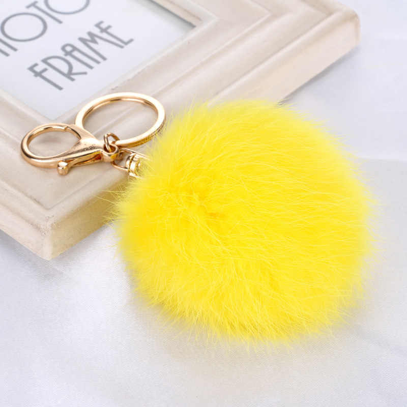 Высокое качество 15 цветов Кролик Мех животных брелок мяч подвеска с помпоном для автомобиля Цепочка для ключей для сумки Золото Металл Шарм для женщин
