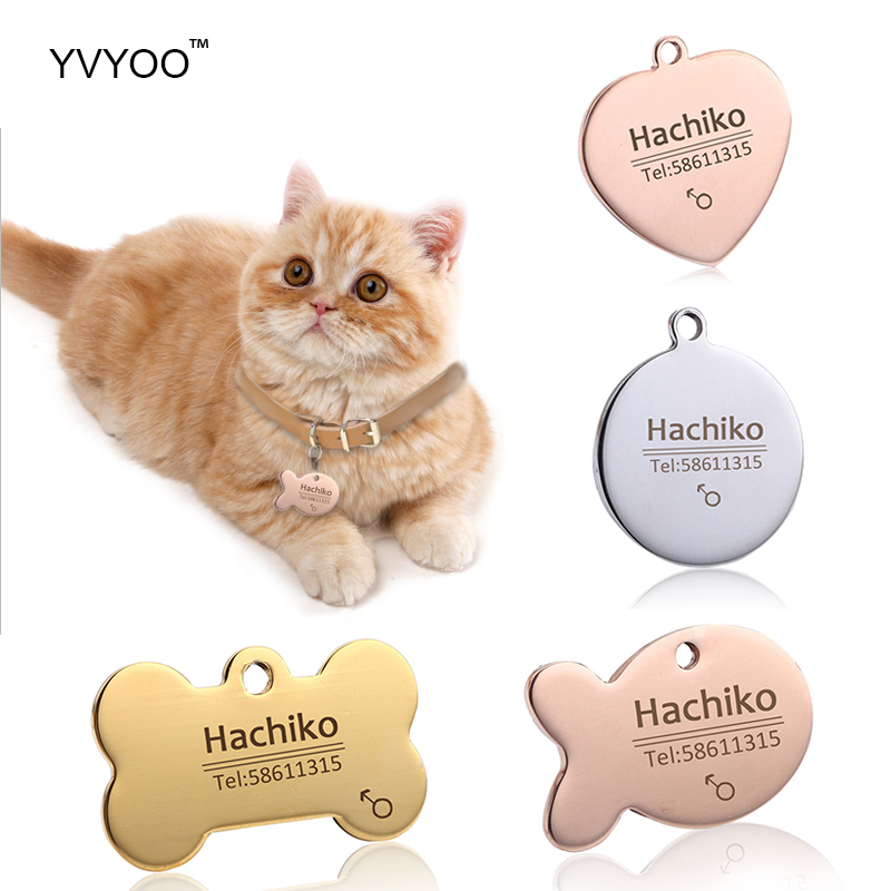 YVYOO Free engraving Stainless steel Pet cat collar accessories customized dog cat ID tag name telephone Multiple languages AA08 image