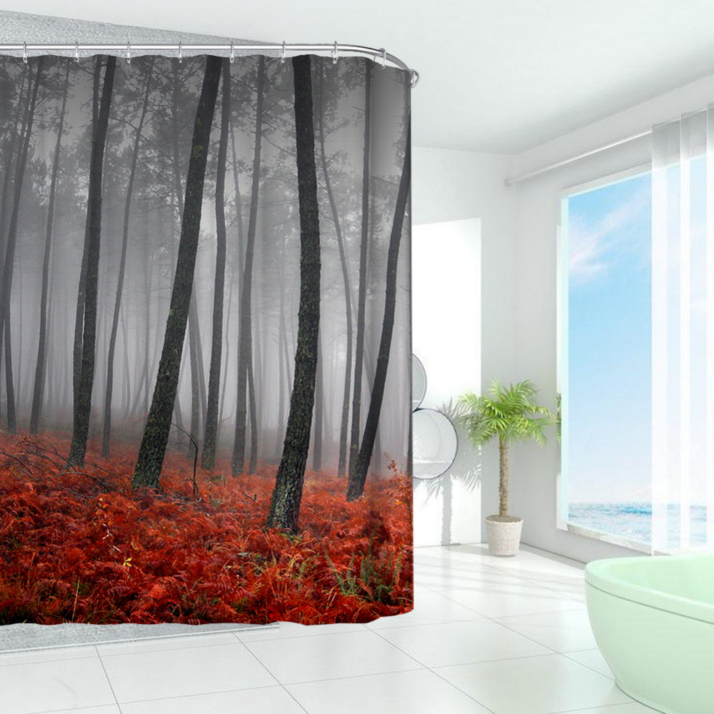 charming autumn forest along marvelous crhpcx selling hot ar shower ringless polyester cozy italian french fashion astounding with curtain then sheer voilewindow waterproof x
