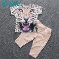 2017 summer girls clothing sets short-sleeve leopard t shirts + pants kids boys clothes set fashion girls sets
