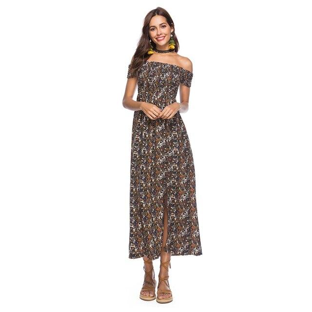 ccbb2946f73 Plus Size Summer Dress 2018 Womens Office Wears Summer Beach Clothes Slash  Neck Loose Bohemian Beach Long Dress Boho Vintage