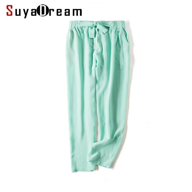 Women Harem Pants 100% REAL Silk Ankle-length Pants Chiffon Solid 2018 New Black Charcoal Green