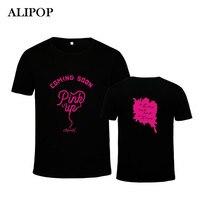 ALIPOP APINK Album Różowy Up Bawełna Tshirt K-POP KPOP Koreański Mody Koszulki z krótkim rękawem Koszulki Topy PT507