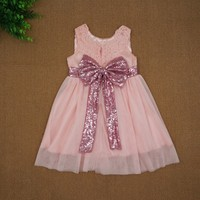 Summer Baby Lace Flower Sequins Bow Dress Girl Sleeveless Party Formal Dresses