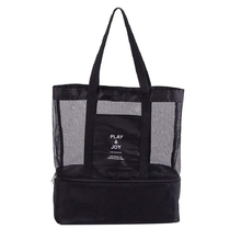 NEW-2 in 1 mesh beach zipper pocket with integrated cool bag, invisible insulation tote bag work holiday park picni