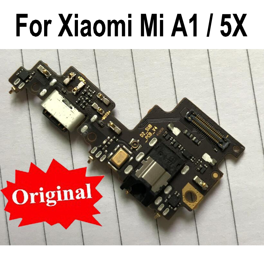Original For Xiaomi Mi A1 MiA1 5X USB Charging Charger Port Dock Connector PCB Board Ribbon Flex Cable With Headphone Audio