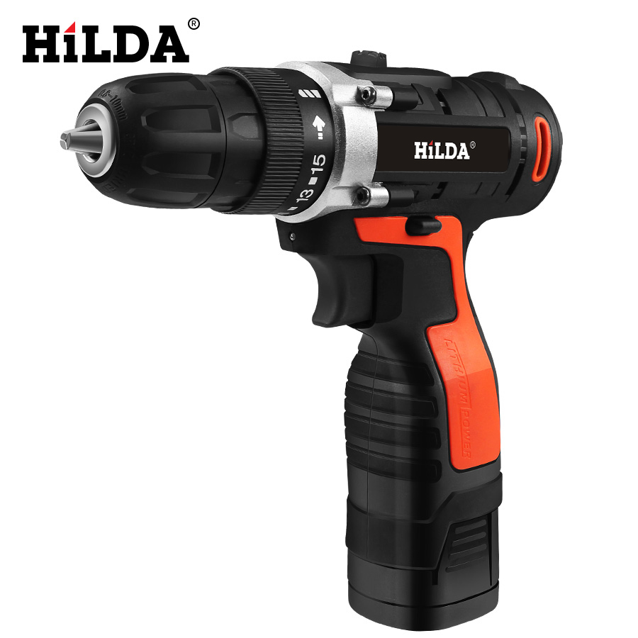 HILDA Electric Drill Cordless Screwdriver Drill Lithium Battery  Furadeira Cordless Screwdriver Power Tools With Plastic Case-in Electric Screwdrivers from Tools on