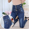 Mujeres Pantalones Vaqueros de Cintura Alta Pantalones Flacos Delgados Pantalones de Mezclilla Femenina Primavera Y el Otoño Negro Elástico Pantalones Lápiz Más El Tamaño 26-34