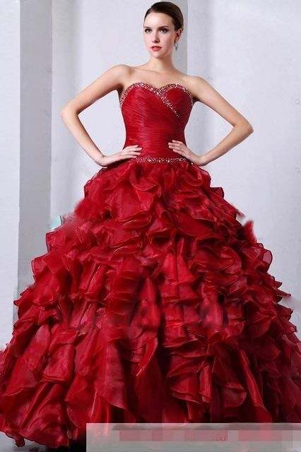 US $148.0 |Cheap Simple Organza Ruched Burgundy Quinceanera Dresses Beaded  Sweet 16 Dresses Plus Size Masquerade Ball Gown Prom Party Dress-in ...