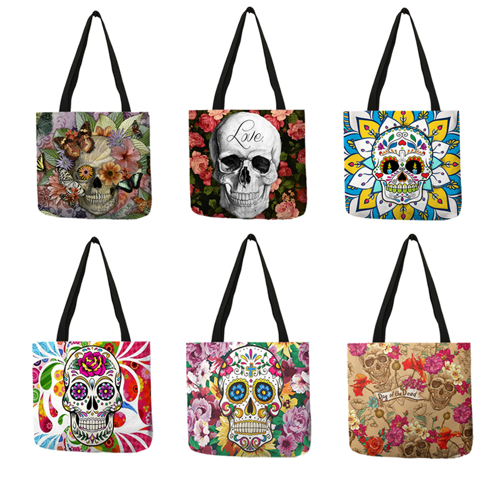 Floral Skull Customized Tote Bag  Linen Handbags For Women Lady Eco Reusable Shopping Bags Traveling