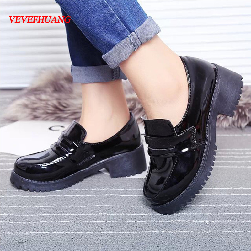 VEVEFHUANG Cute Lolita Girl Women Maid Boots Round Toe Leather Shoes Japan JK High School Uniform Kawaii Sneakers Anime Cosplay