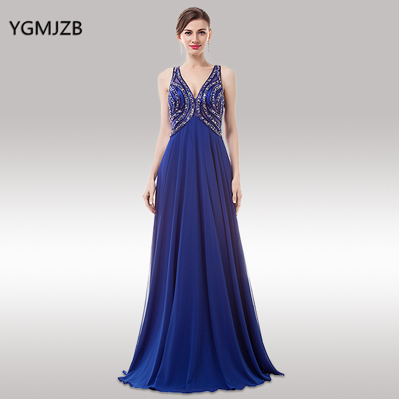 Luxury Evening Dresses Long 2018 A-line V Neck Open Back Beaded Crystal Chiffon Royal Blue Prom Dress Women Formal Evening Gown