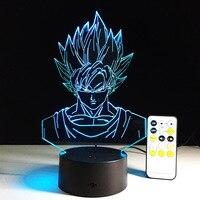 Dragon Ball Super Saiyan God Goku Action Figures 3D Illusion Table Lamp Colorful 3D Night Light
