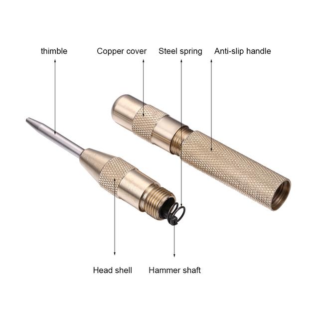JelBo Golden/Black Drill Automatic Center Punch Metal Glass Breaker Spring Marker Drill Bit Tools Starting Holes Fast Drilling