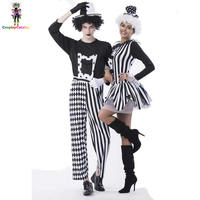 Black and White Couple Circus Clown Costume,Mens Nobody's Fool Costume,Women Devious Playful Jester Babe Costume Clowns Uniforms