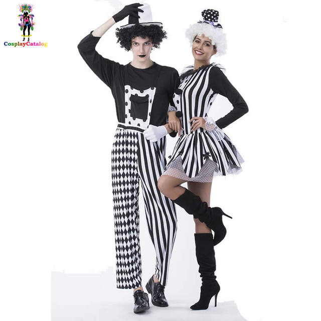 black and white couple circus clown costumemens nobodys fool costumewomen devious playful