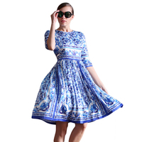 Women Pleated Chiffon Dress 2016 Summer Fashion Blue And White Porcelain Round Neck Three Quarter Length
