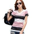 Korean V-neck Tops Plus Size Women Summer Short Sleeve T-shirt 2017 Female Multi Color Print Tshirt Women Tee Shirt Femme B180