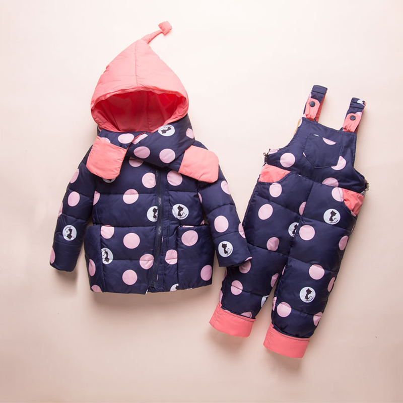 Thick Warm Infant Baby Snowsuit Cute Cat White Duck Down Coat+Jumpsuit Warm Kids Winter Suits for Toddler Girls Outdoor Clothes